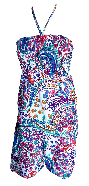 SUNROSE Multicolor Paisley Printed Short Tube Smoked Dress Sundress