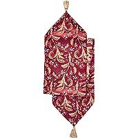 """Violet Linen Decorative Luxury Damask Vintage Design Table Runner, 13"""" x 70"""", Burgundy"""