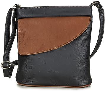 b541d0dc85385 Taschenloft Damen Handtasche zum umhängen aus weichem Leder in schwarz braun