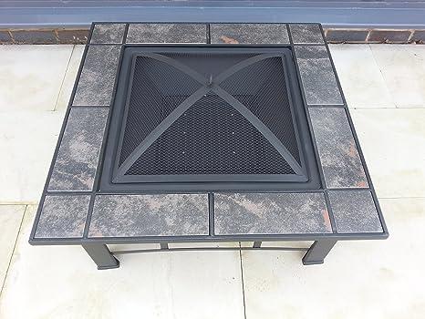 Jardín Patio brasero terrazas calefactor de mosaico metal Estufa brasero barbacoa mesa
