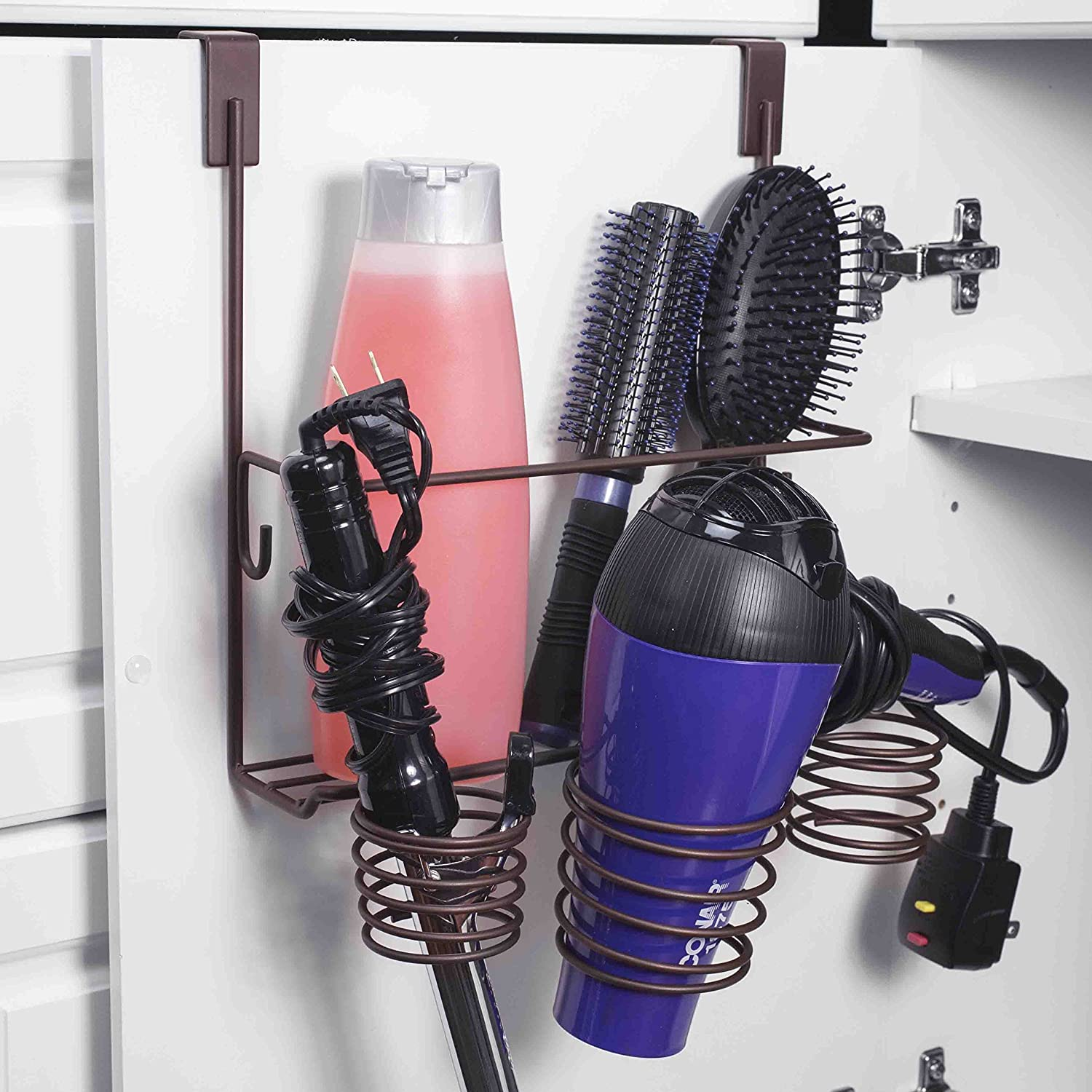 Home Basics Metal Over Door Hair Care & Styling Tool Storage Organizer Basket for Hair Dryer, Flat Iron, Curling Wand, Hair Straightener, Brush - Hang Inside or Outside Cabinet Doors (Bronze)