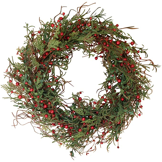The Wreath Depot Marion Winter Berry Wreath 22 Inch, Enhances Winter Decor, White Gift Box Included