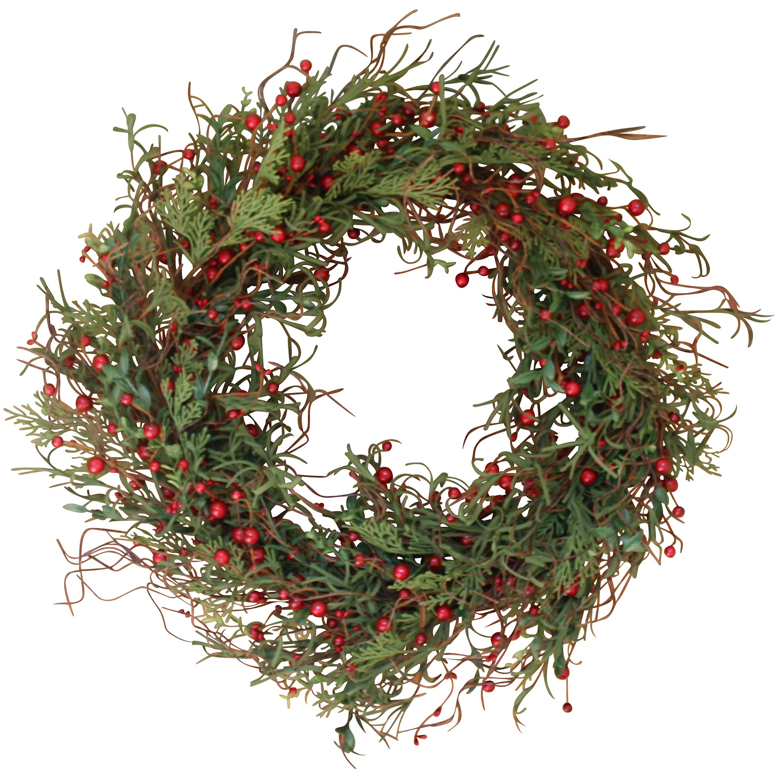 Marion Winter Berry Wreath 24 Inch - Versatile and Stunning Full Design, Approved for Covered Outdoor Use, with Beautiful White Gift Box