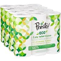 Marque Amazon - Presto! Papier toilette 3 épaisseurs - ECO - Lot de 36 (4 x 9 x 200 feuilles)