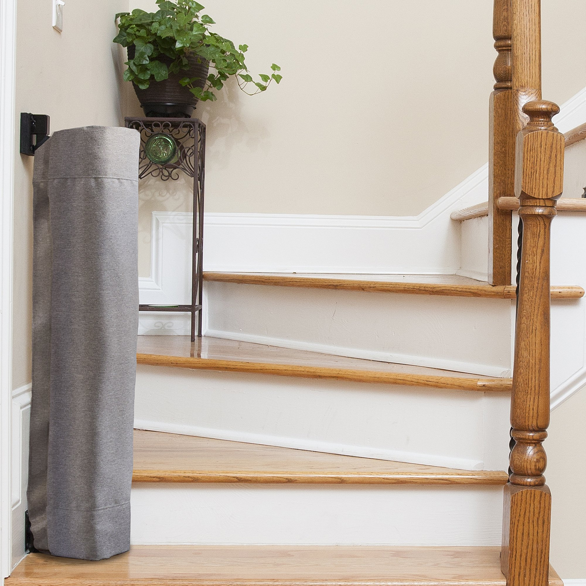 The Stair Barrier Baby and Pet Gate – Wall-to-Banister- Retractable Fabric Safety Gate Wide and Regular Sizes - Made in the USA – Grey by THE STAIR BARRIER KEEPING CHILDREN AND PETS OFF THE STAIRS (Image #3)