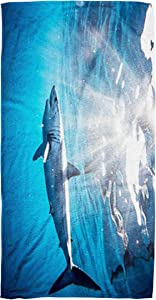 Bisead 30×60 Inch Beach Towel,Shark Diving Sea Coast Cabo San a Mako Lucas,Mexico,Large Absorbent Quick Dry,Beige Pink