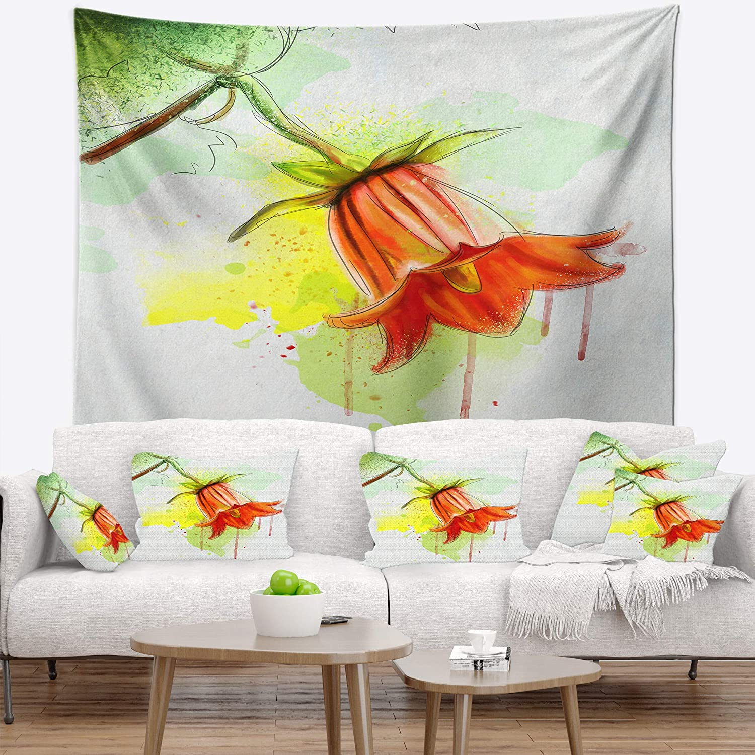 Designart TAP13501-32-39 ' Red Bellflower Sketch Watercolor' Floral Blanket Décor Art for Home and Office Wall Tapestry Medium: 32 in. x 39 in. Created On Lightweight Polyester Fabric