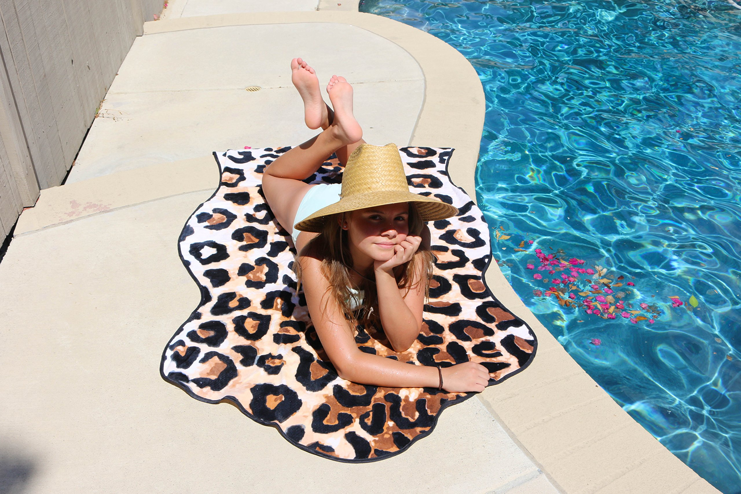 Round Towel Oversized Leopard Print Animal Shaped Beach Towels by Co. Thick Soft & Absorbent 100% Cotton 53″ x 70″ - 4+ styles (Leopard)