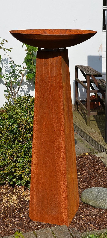 Säule mit Schale Rost, Höhe kpl. ca 128cm!!, aus Metall Rostsäule Edelrost Säule Deko !!!! 2er Set !!!!, Gartendeko Feuerschale !!!! Schale ca. 54cm Durchm.!!!! Säule mit Schale Rost Höhe kpl. ca 128cm!! HKT Home Deco