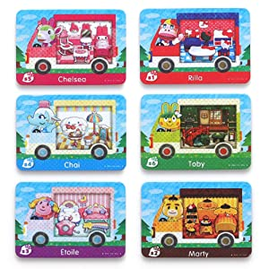 For Animal Crossing New Horizons ACNH Sanri Collaboration Pack Mini card, 6 pcs RV Villager Furniture Compatible with Switch/Switch Lite/New 3DS