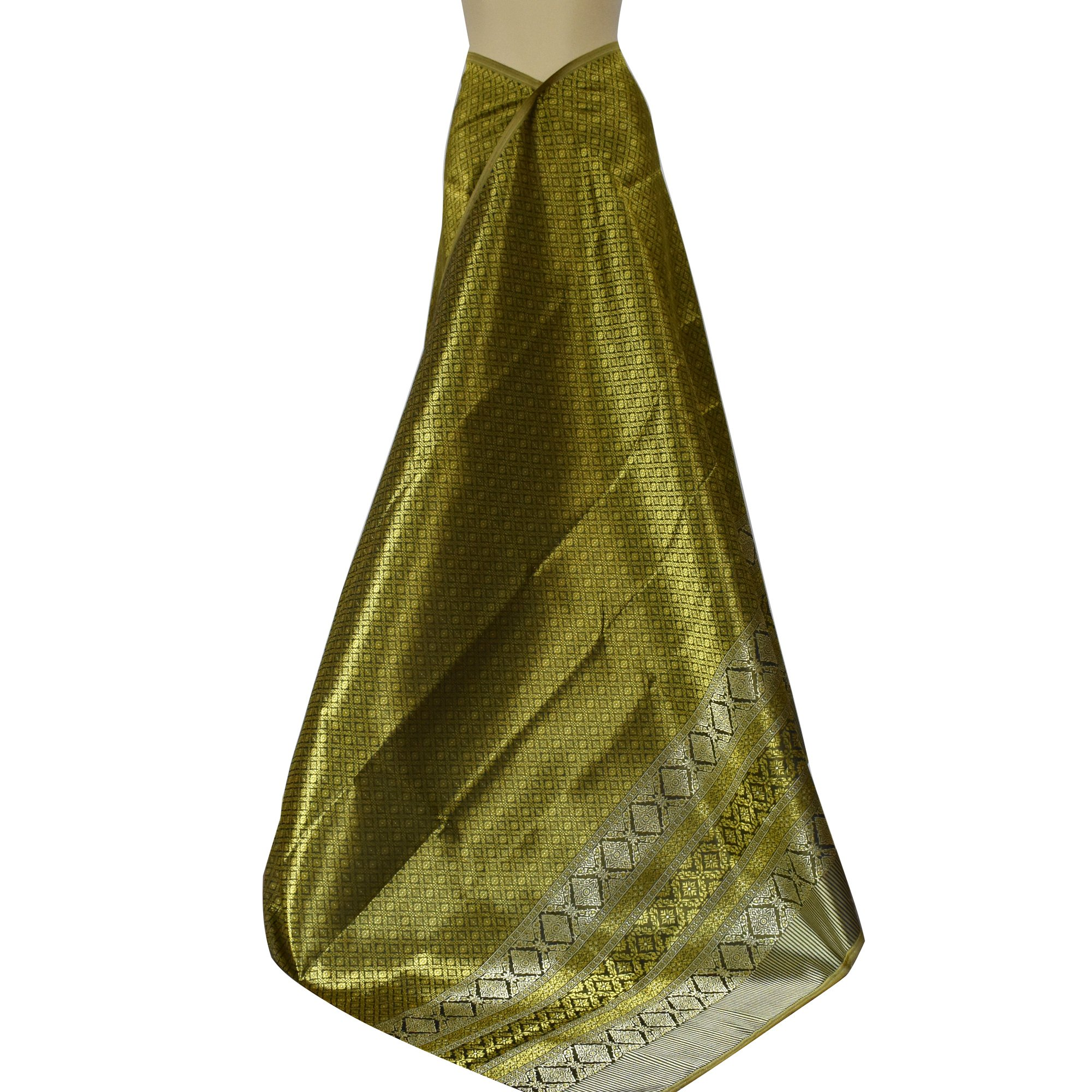 KunsA Thai Synthetic Silk Fabric Phumriang Traditional Yellow-Gold & Golden for Sarong/Dress 75''x 41'' by KunsA