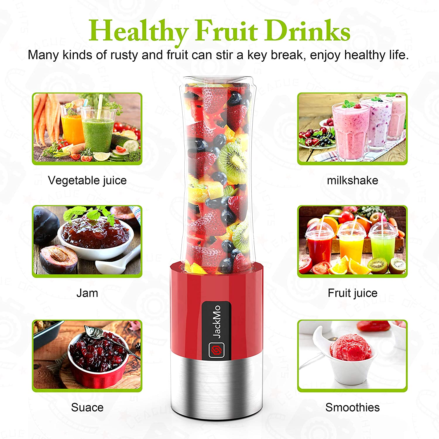 JackMo Portable Blender, Vacuum Preservation Mini Smoothies Mixer, Home Office and Travel Portable Personal Mixer, Vegetables Juice Shakes and Smoothies Available