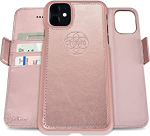 Dreem Fibonacci 2-in-1 Wallet-Case for Apple iPhone 11 - Luxury Vegan Leather, Magnetic Detachable Shockproof Phone Case, RFID Card Protection, 2-Way Flip Stand - Rose