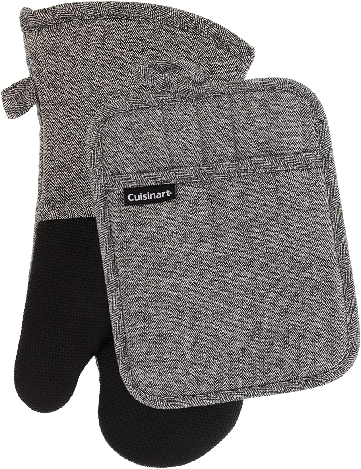 Cuisinart Neoprene Oven Mitts and Potholder Set - Heat Resistant Oven Gloves to Protect Hands and Surfaces with Non-Slip Grip, Hanging Loop - Ideal for Handling Hot Cookware Items - Chevron, Black