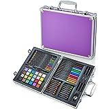 Artworx 70 Piece Art Studio With Purple Aluminium Case - Childrens Colouring Set - Kids Pencil Crayons, Paints, Felt Tip Pens