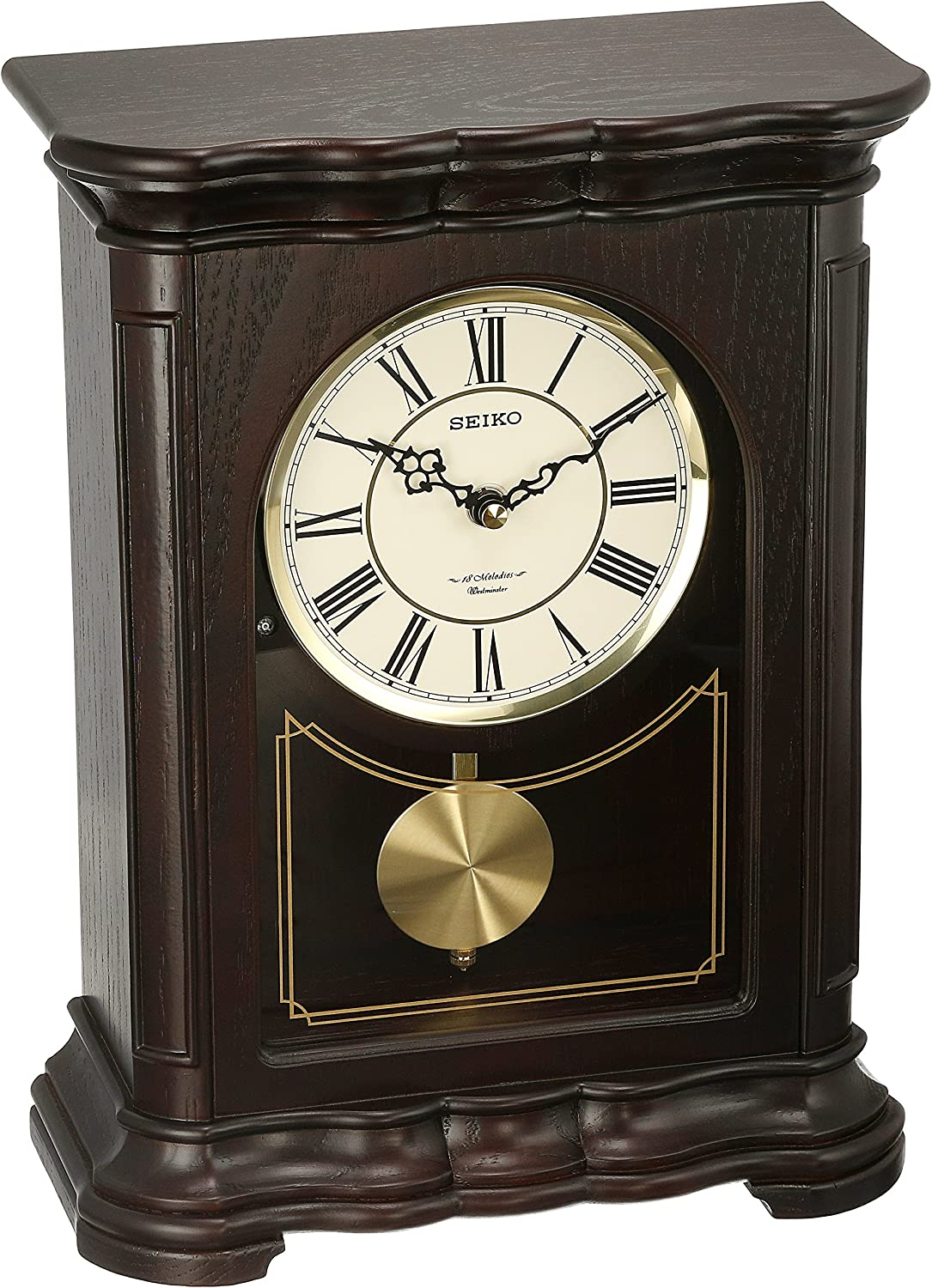 Seiko Traditional Musical Pendulum Mantel Clock – 9.75 in. Wide