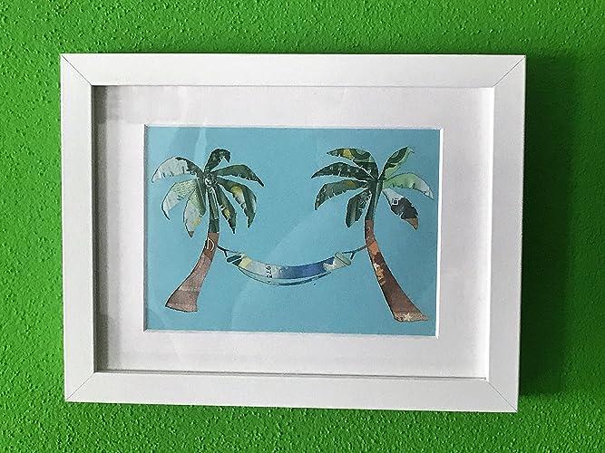 Geldgeschenk Palmen Mit Hangematte Im Bilderrahmen