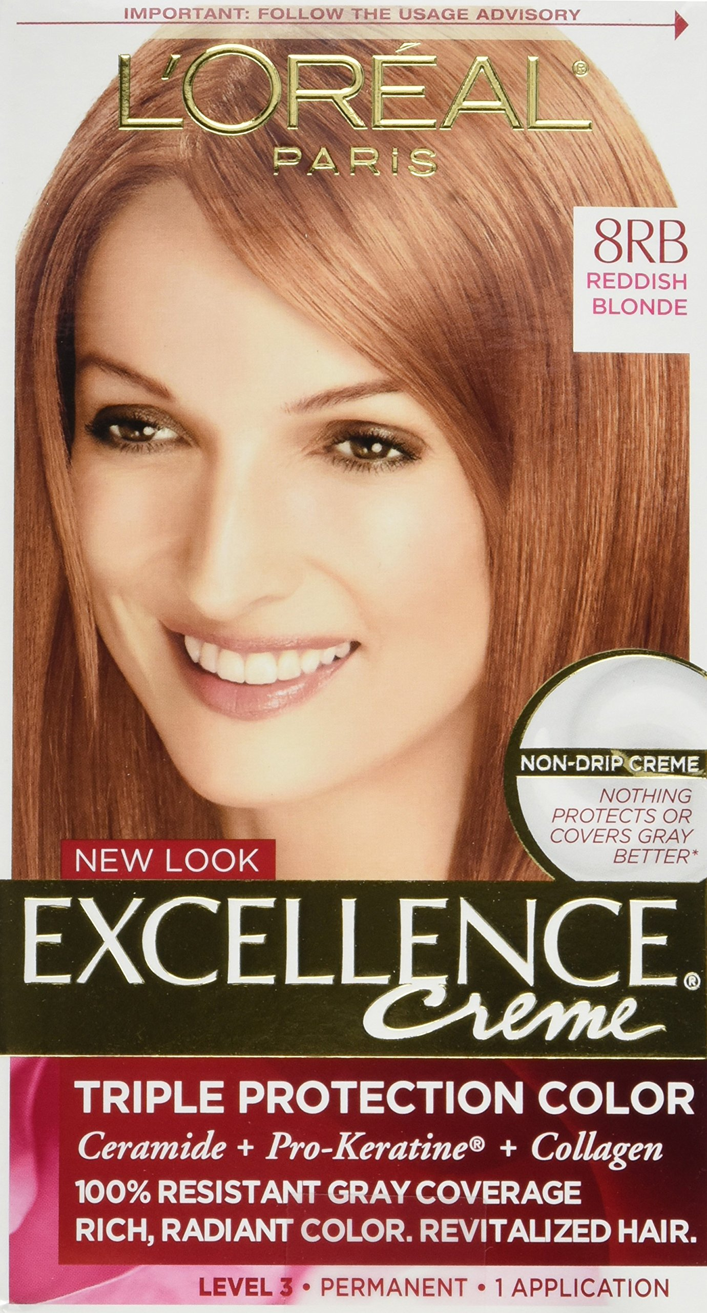 L'Oreal Excellence Creme 8RB Medium Reddish Blonde (Warmer) 1 Each (Pack of 4) by L'Oreal Paris