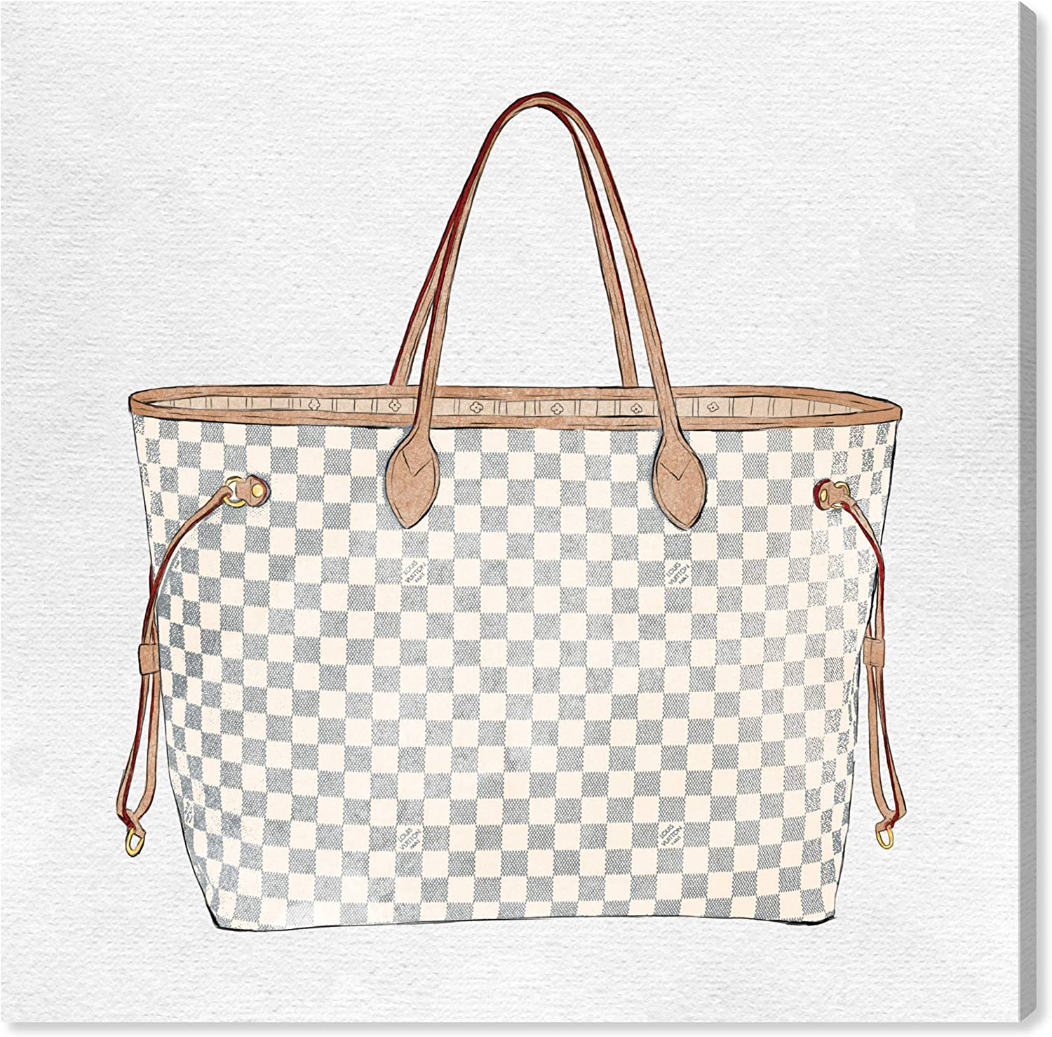 """The Oliver Gal Artist Co. Fashion and Glam Wall Art Canvas Prints 'Royal Handbag Ivory' Home Décor, 43"""" x 43"""", White, Brown"""