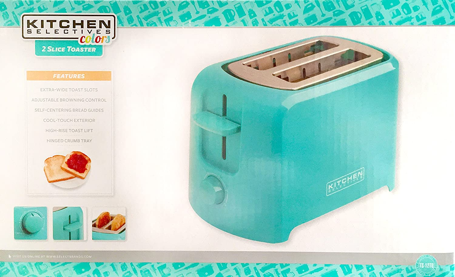 Kitchen Selectives Cool-Touch 2 Slice Toaster - Teal by Kitchen ...