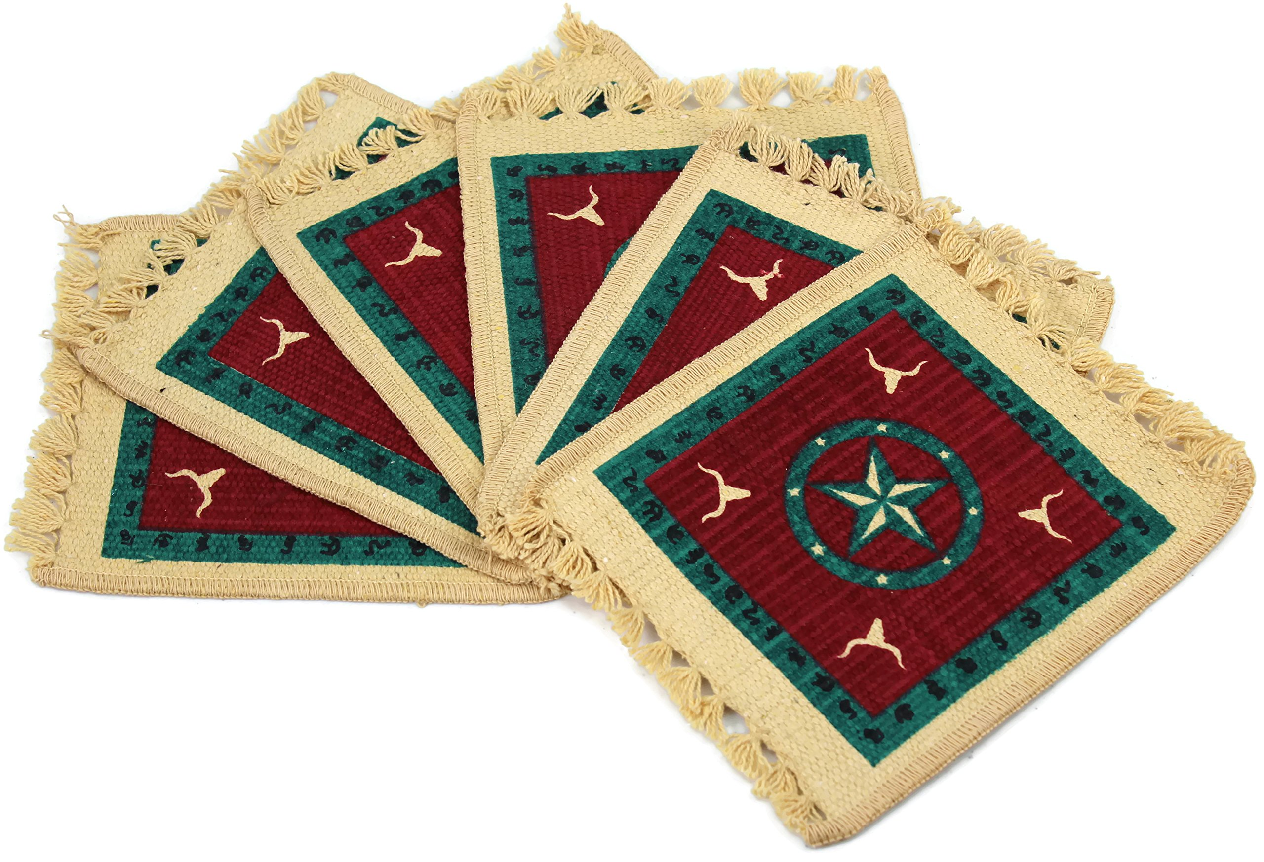 Splendid Exchange Southwest Style Woven Cotton Stencil Coasters, 7 Inches by 6 Inches, Red Star on Green, Set of 6