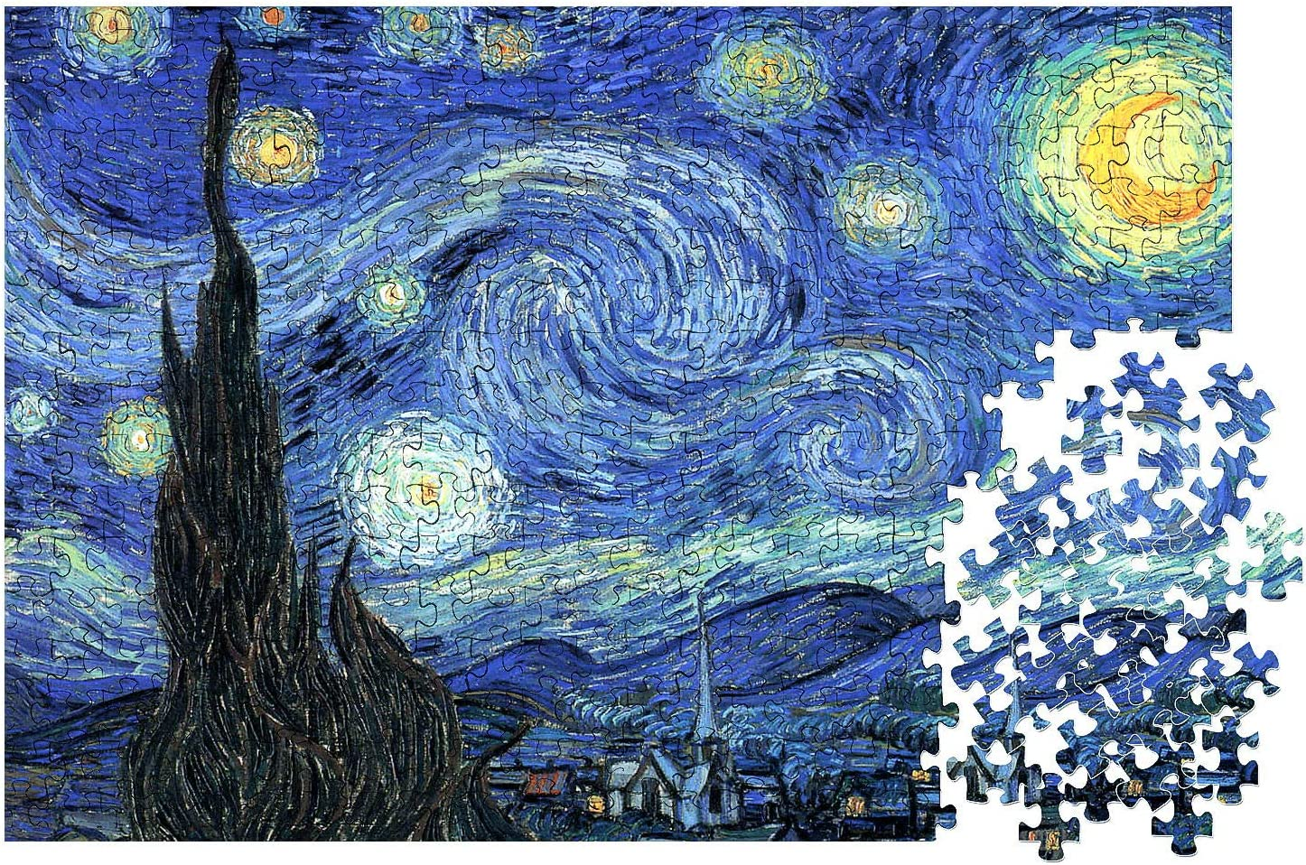 Van Gogh The Starry Night Seloom 2000 Pieces Jigsaw Puzzle for Adults with Family Floor Puzzle Kids Intellectual Game Learning Education Decompression Toys