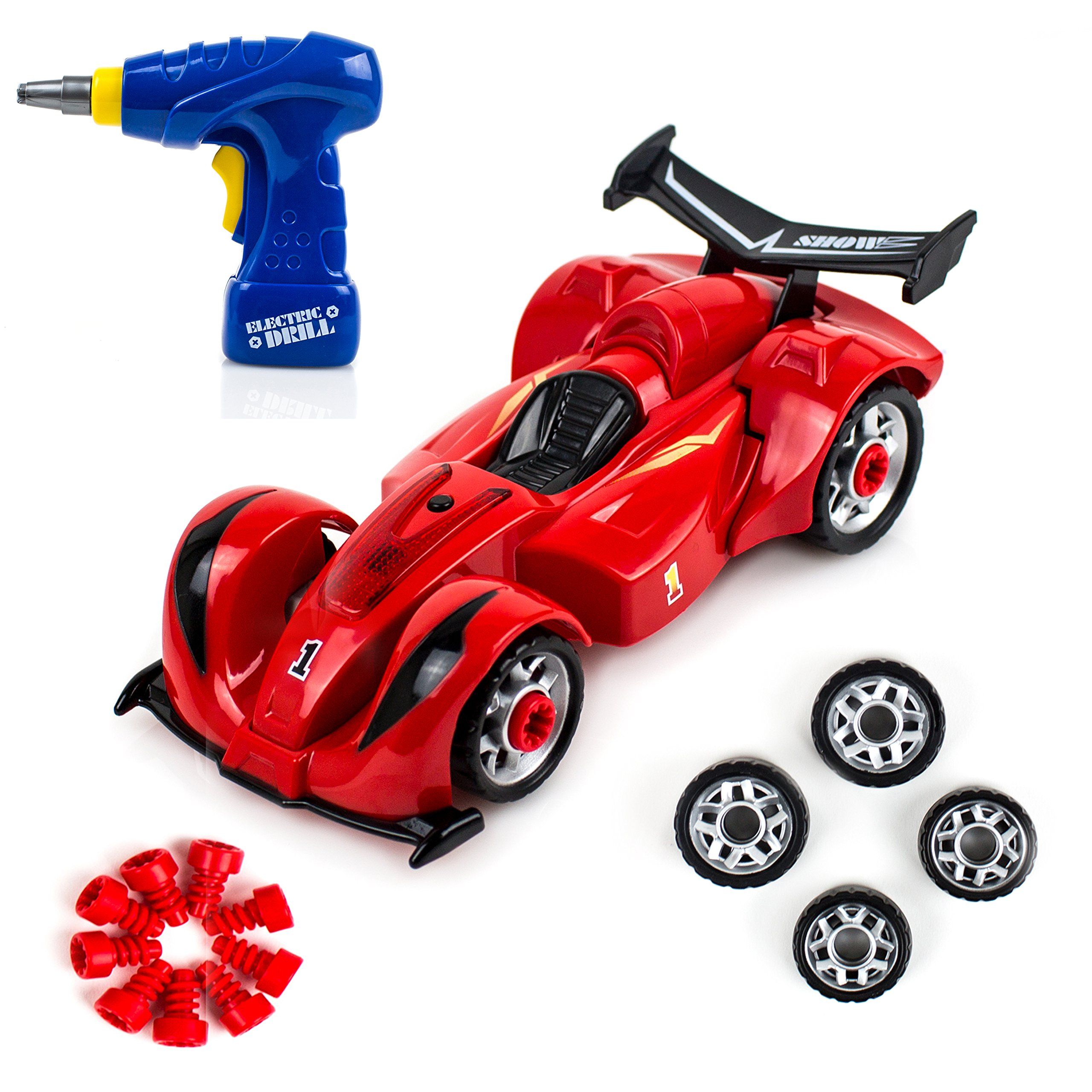 Toysery Take-A-Part Racing Car Toyset For Kids | Above 10 Pieces Take Apart Electric Play Drill and Modification Pieces | Race Car Develop Fine Motor Skills And Hand-Eye Coordination .