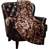 "Chanasya Super Soft Fuzzy Fur Faux Fur Cozy Warm Fluffy Beautiful Color Variation Print Plush Sherpa Chocklate Fur Throw Blanket (60"" x70"") - Coffee Brown Waivy Fur Pattern"
