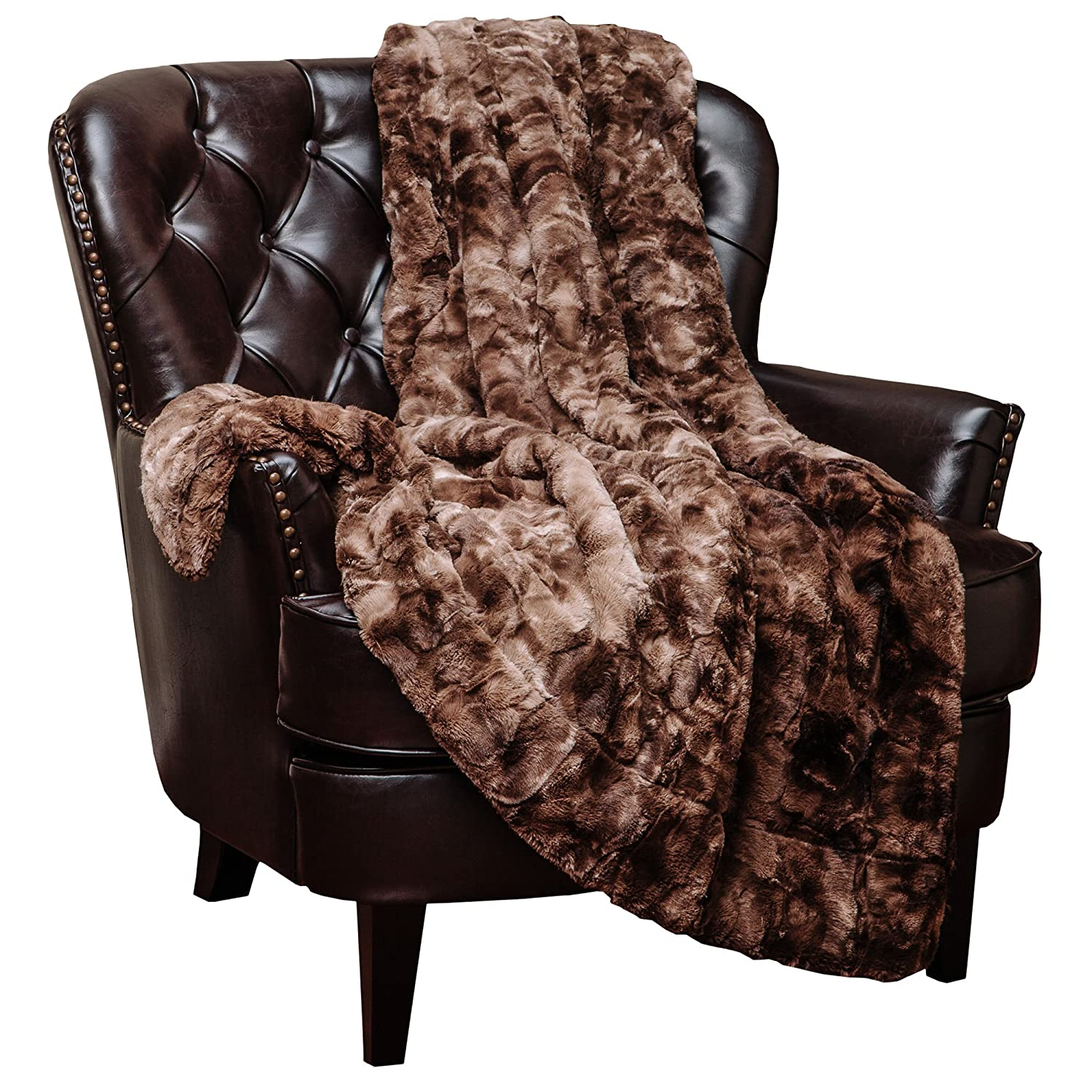 Variation Print Plush Sherpa Chocolate Fur Bed Blanket - Coffee Brown Wavy Fur Pattern Queen/Full