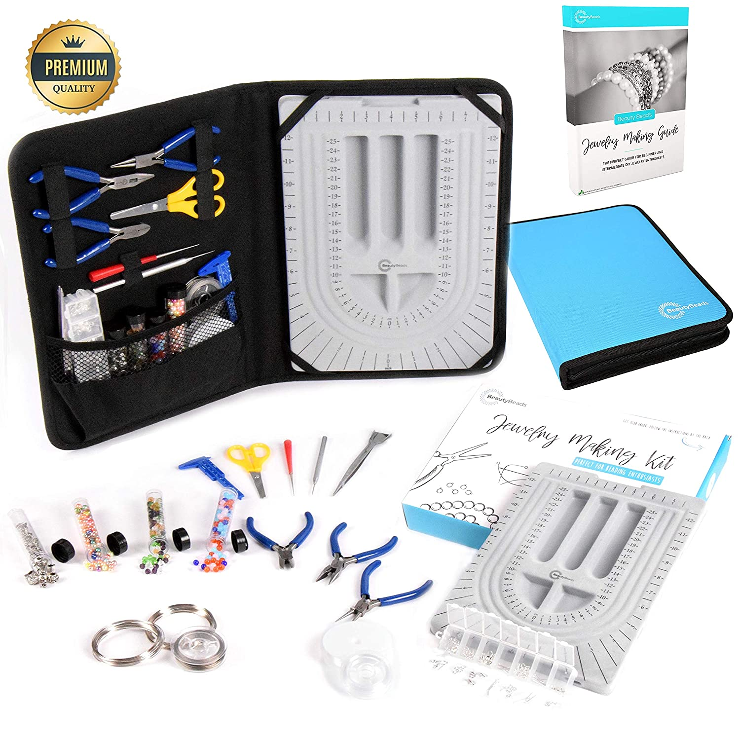 Jewelry Making Kit & Beading Supplies. +30pcs Tools & Accessories Set. Make/Repair Custom & Personalized Beading Designs. Bead Design Board & BeautyBeads Jewellery Making Guide Incl. Canvas Zipper Bag Qubeeco 4336835071