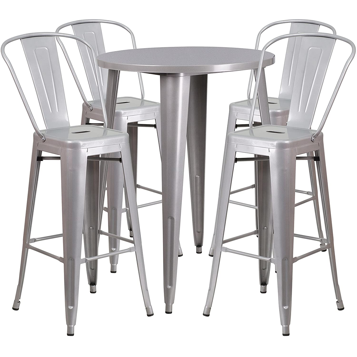 Amazon.com   Flash Furniture 30u0027u0027 Round Silver Metal Indoor Outdoor Bar  Table Set With 4 Cafe Stools   Table U0026 Chair Sets