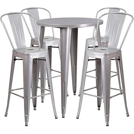Miraculous Amazon Com Flash Furniture 30 Round Silver Metal Indoor Forskolin Free Trial Chair Design Images Forskolin Free Trialorg