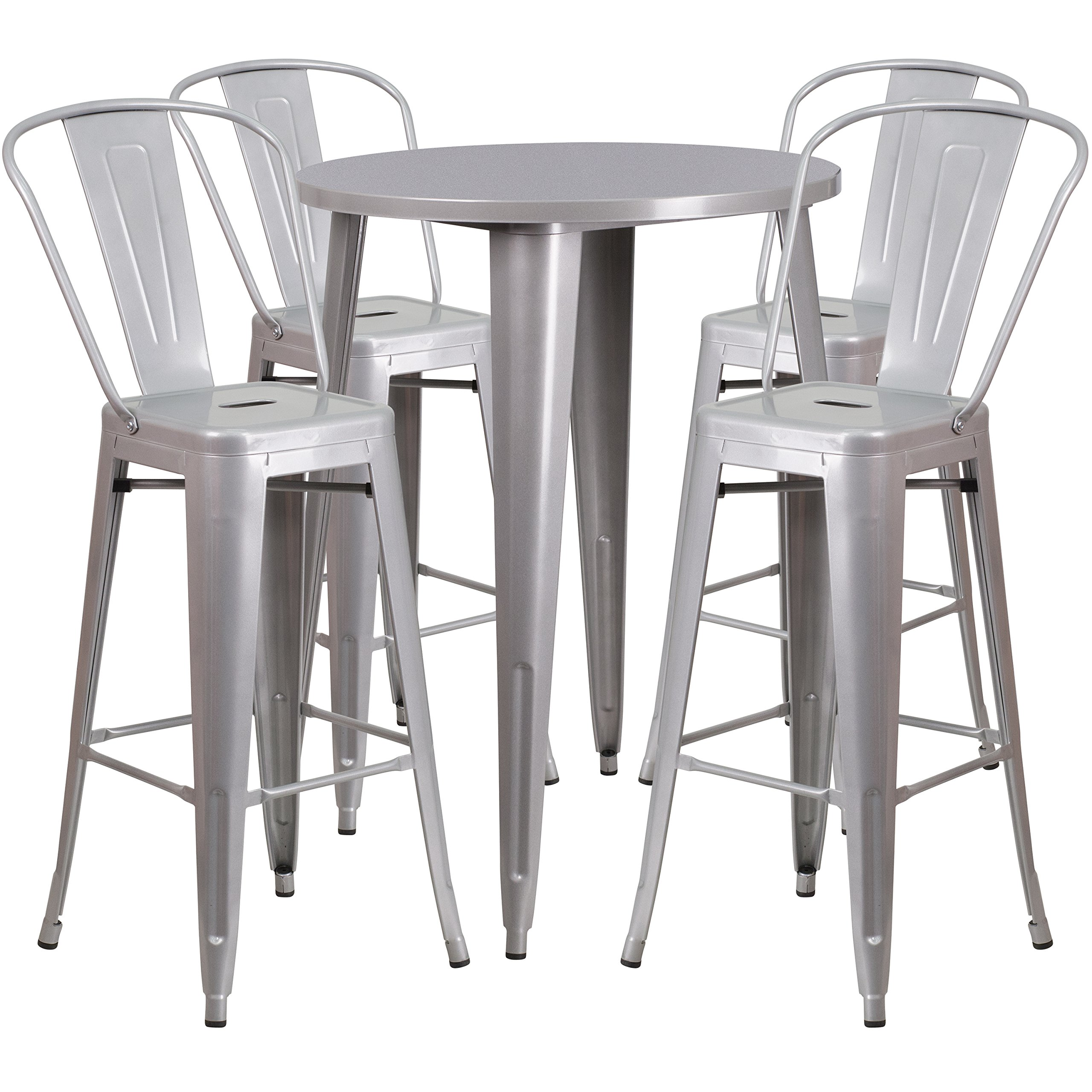 Flash Furniture 30'' Round Silver Metal Indoor-Outdoor Bar Table Set with 4 Cafe Stools