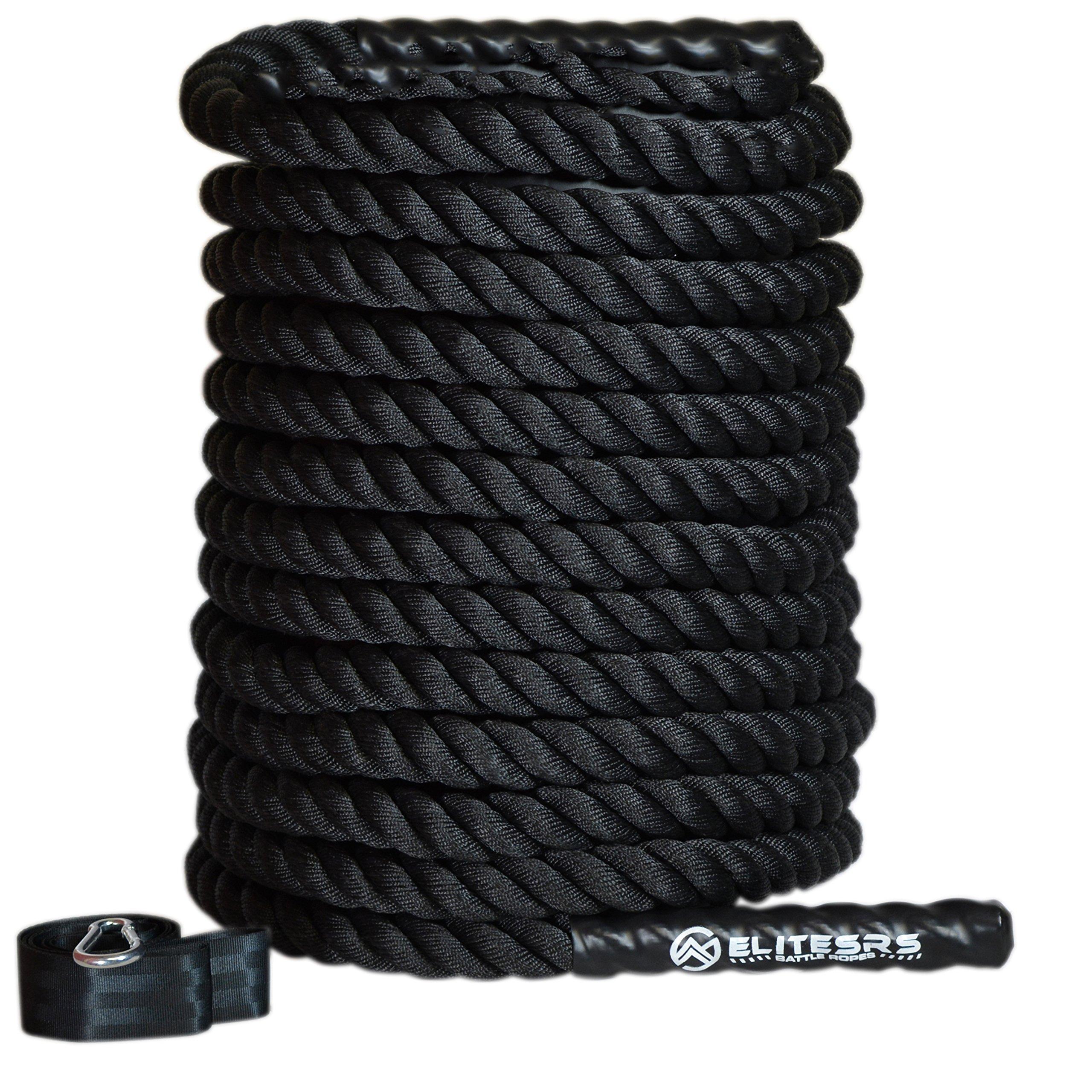 EliteSRS 30ft Battle Rope Kit 2'' Fitness Workout - Sleeve - Anchor Straps (Black) by EliteSRS