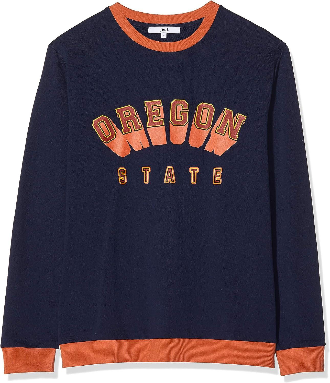 Marque find Sweat-Shirt Col Ras du Cou Imprim/é Oregon Homme