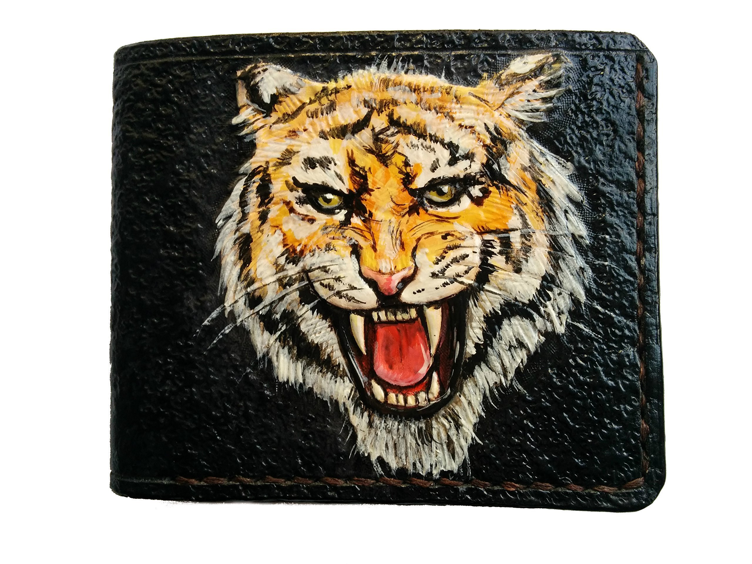 Men's 3D Genuine Leather Wallet, Hand-Carved, Hand-Painted, Leather Carving, Custom wallet, Personalized wallet, Tiger wallet, Bengal Tiger