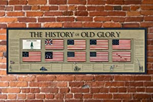 "The History of Old Glory Print - 11 3/4"" by 36"" - American Flag Timeline"