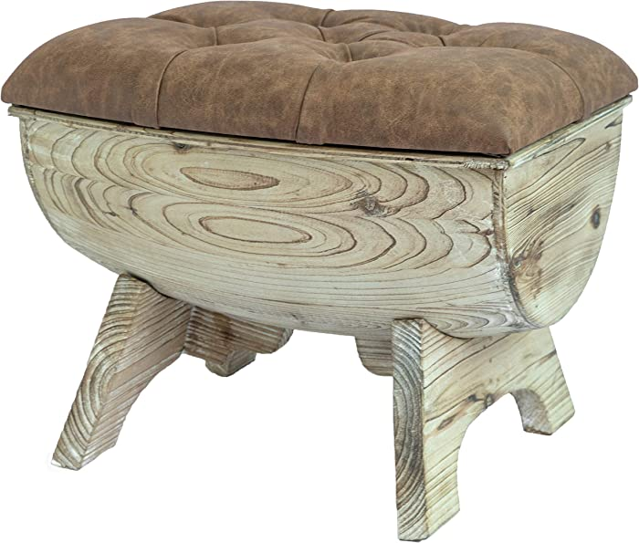 Vintiquewise QI003432.B Vintage Wooden Wine Barrel Storage Bench with Leather Tufted Top, Brown