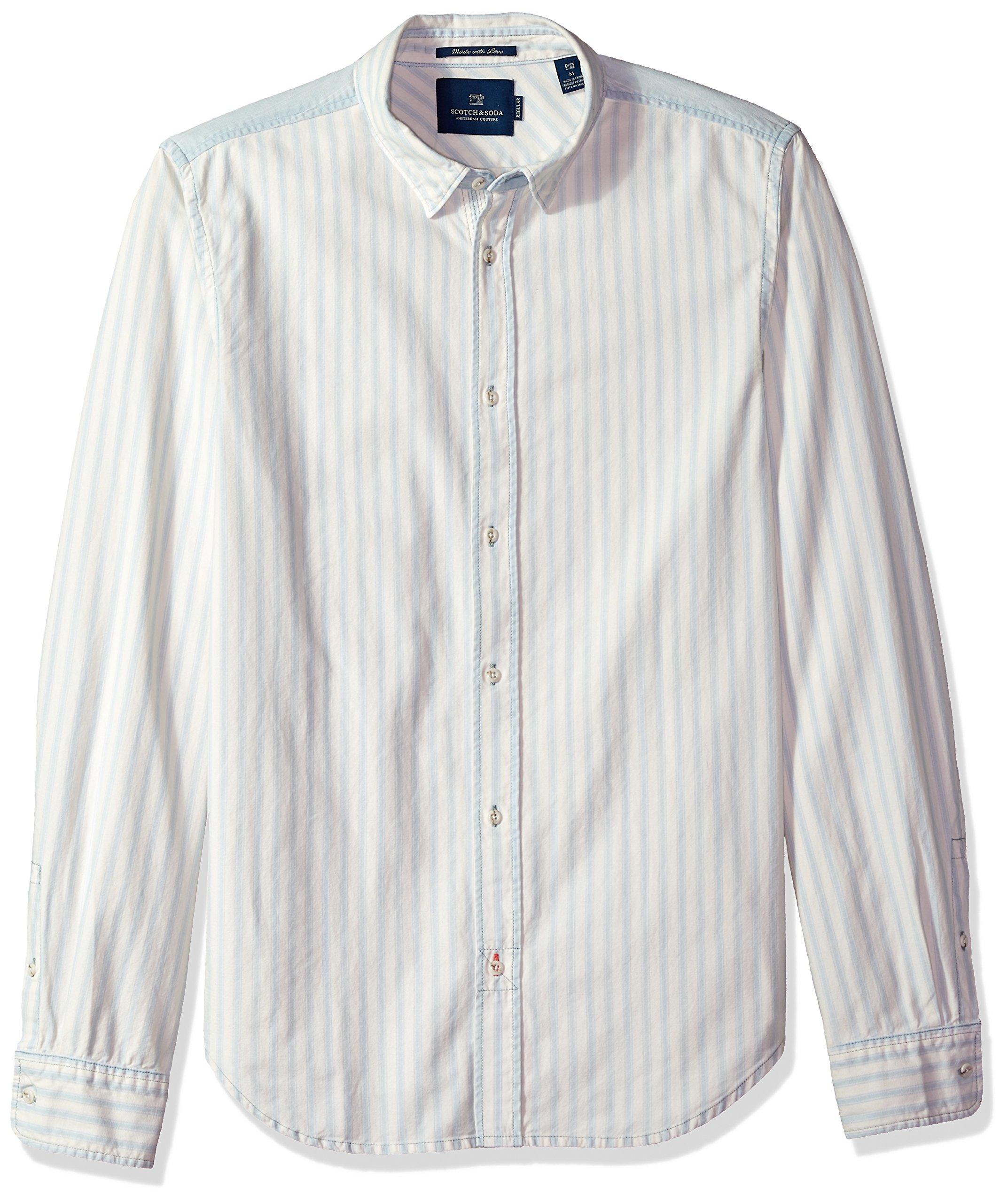Scotch & Soda Men's Classic Summer Indigo Shirt, Combo a, L