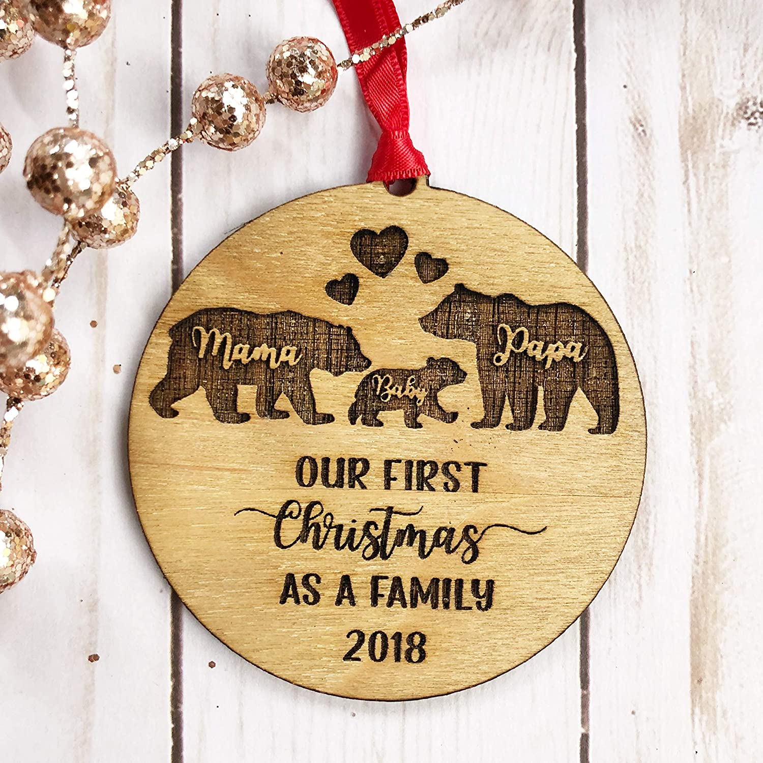 Mama Papa Baby Bear Christmas Ornament Our First Christmas as a Family 2018 Rustic Wooden Wood Engraved Ornament