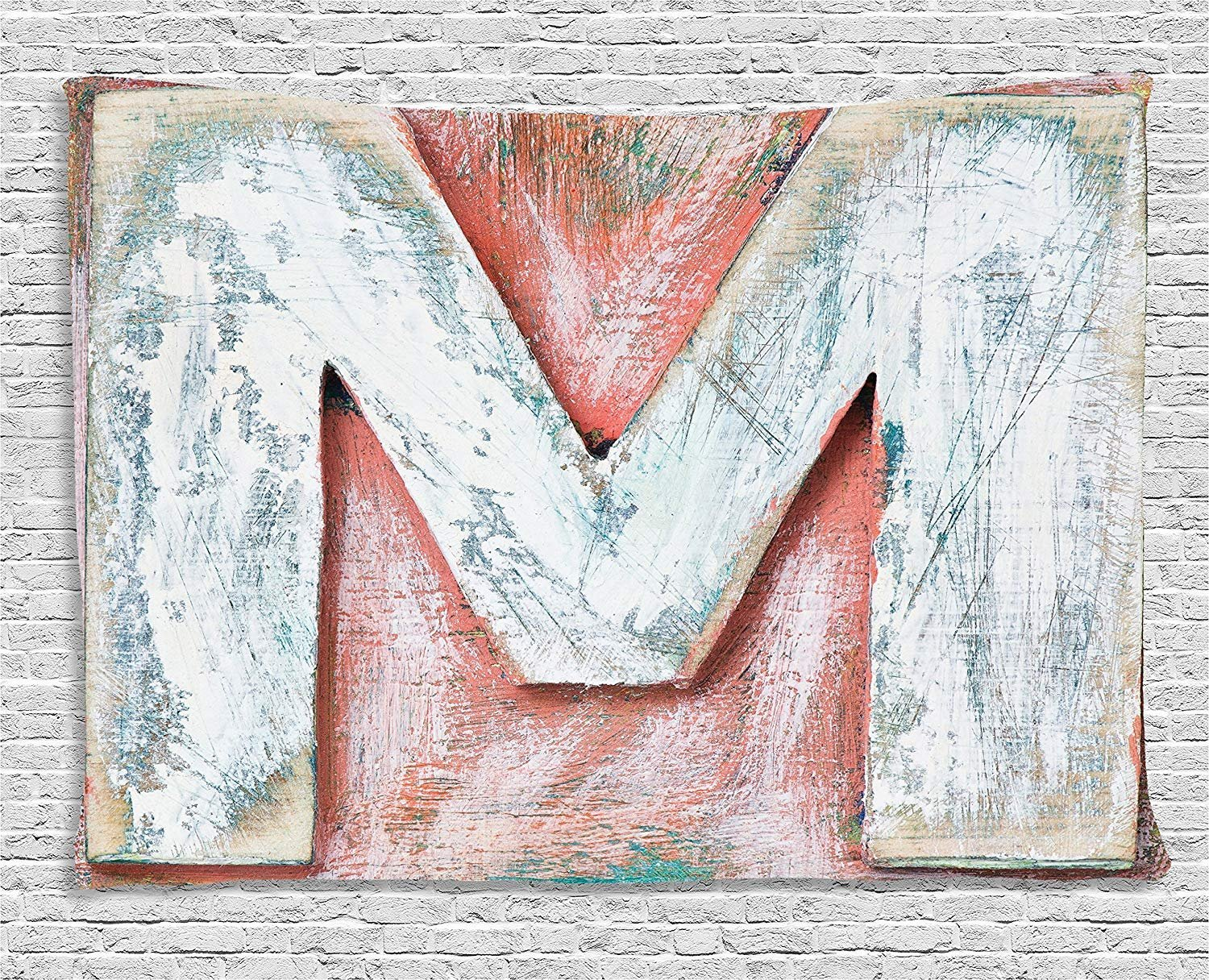 XHFITCLtd Letter M Tapestry, Old Wood Capital Letter M Natural Worn Out Look Texture Language Image, Wall Hanging for Bedroom Living Room Dorm, 80 W X 60 L Inches, Coral White Cream by XHFITCLtd (Image #1)