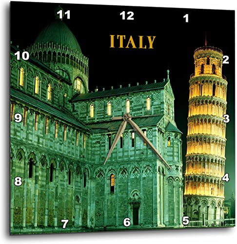 3dRose DPP_80837_2 Leaning Tower of Pisa Italy Lit at Night-Wall Clock, 13 by 13-Inch