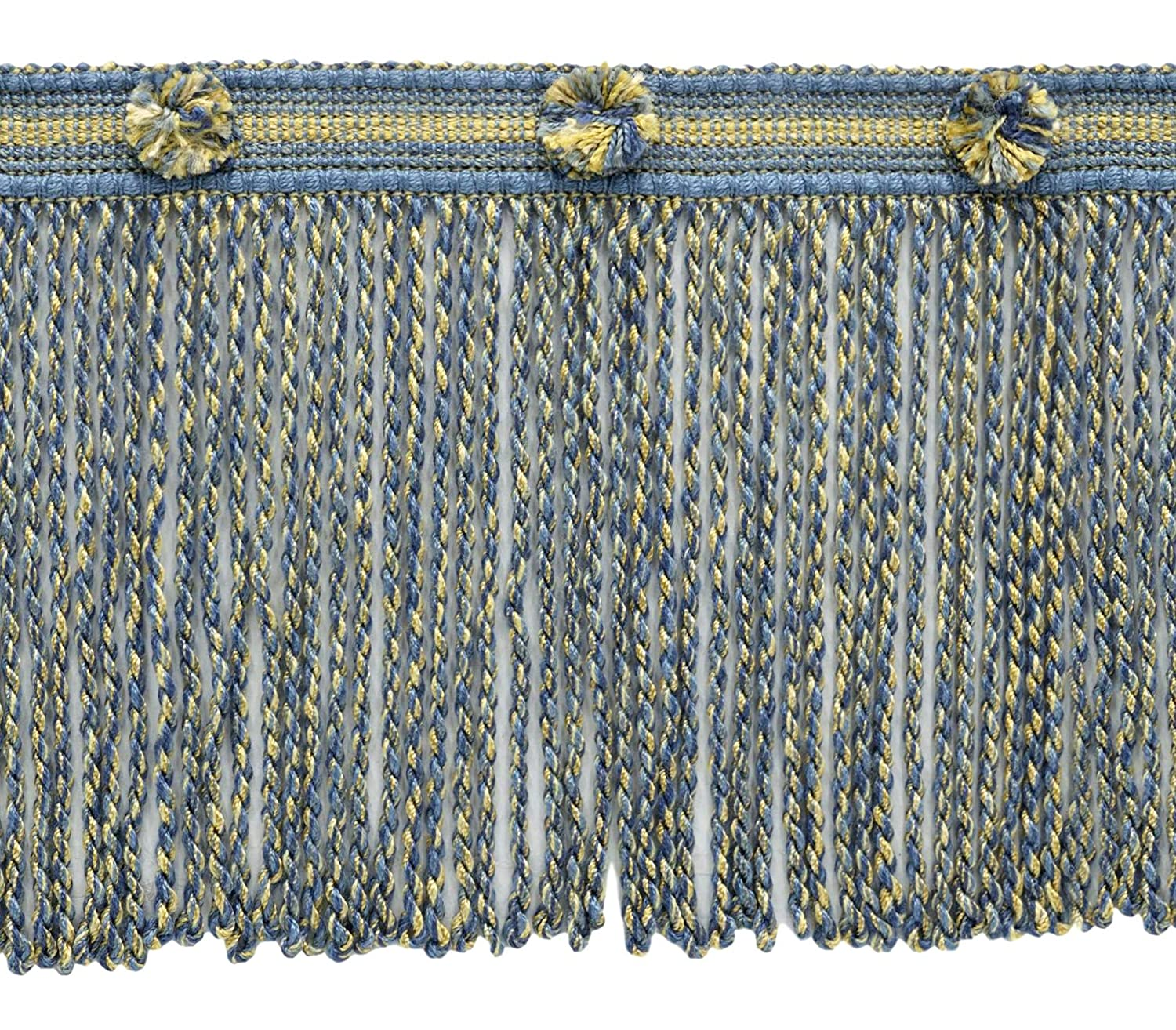 DecoPro 15cm Long French Blue, Cadet Blue, Gold, Champagne Bullion Fringe Trim|Style# BFHR6|Color: Boudior - 51527|Sold by the Yard (1 Yard = 91cm / 3ft / 36')