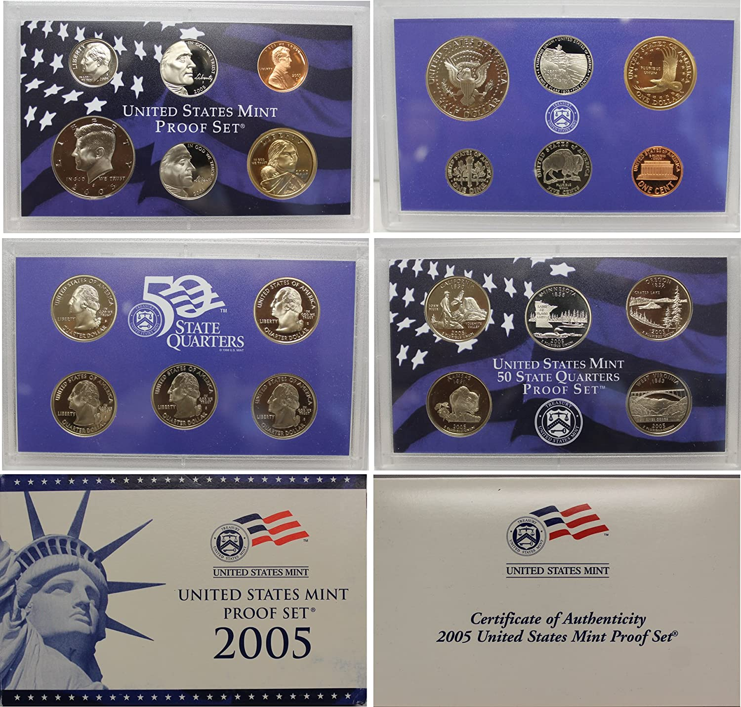 11 Coin Set 2005 United States Mint Proof Set with Certificate of Authenticity