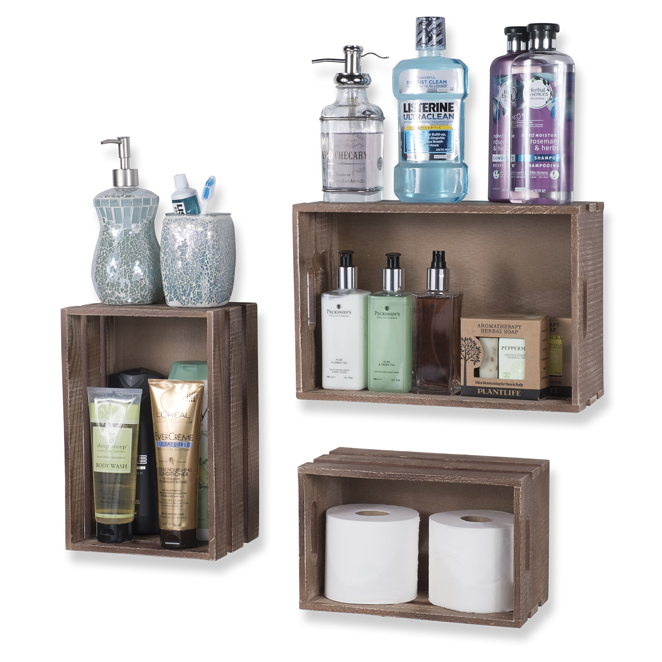 WALLNITURE Rustic Wine Rack Storage Baskets Wall Mount Wooden Crates Walnut Set of 9 by Wallniture (Image #4)
