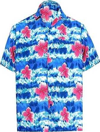 LA LEELA Casual Hawaiana Camisa para Hombre Señores Manga Corta Bolsillo Delantero Surf Palmeras Caballeros Playa Aloha 6XL-(in cms): 172-178 Azul_W327: Amazon.es: Ropa y accesorios