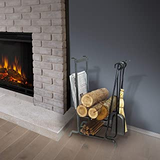 product image for Enclume Handcrafted Complete Hearth Fireplace Log Rack w Tools Hammered Steel