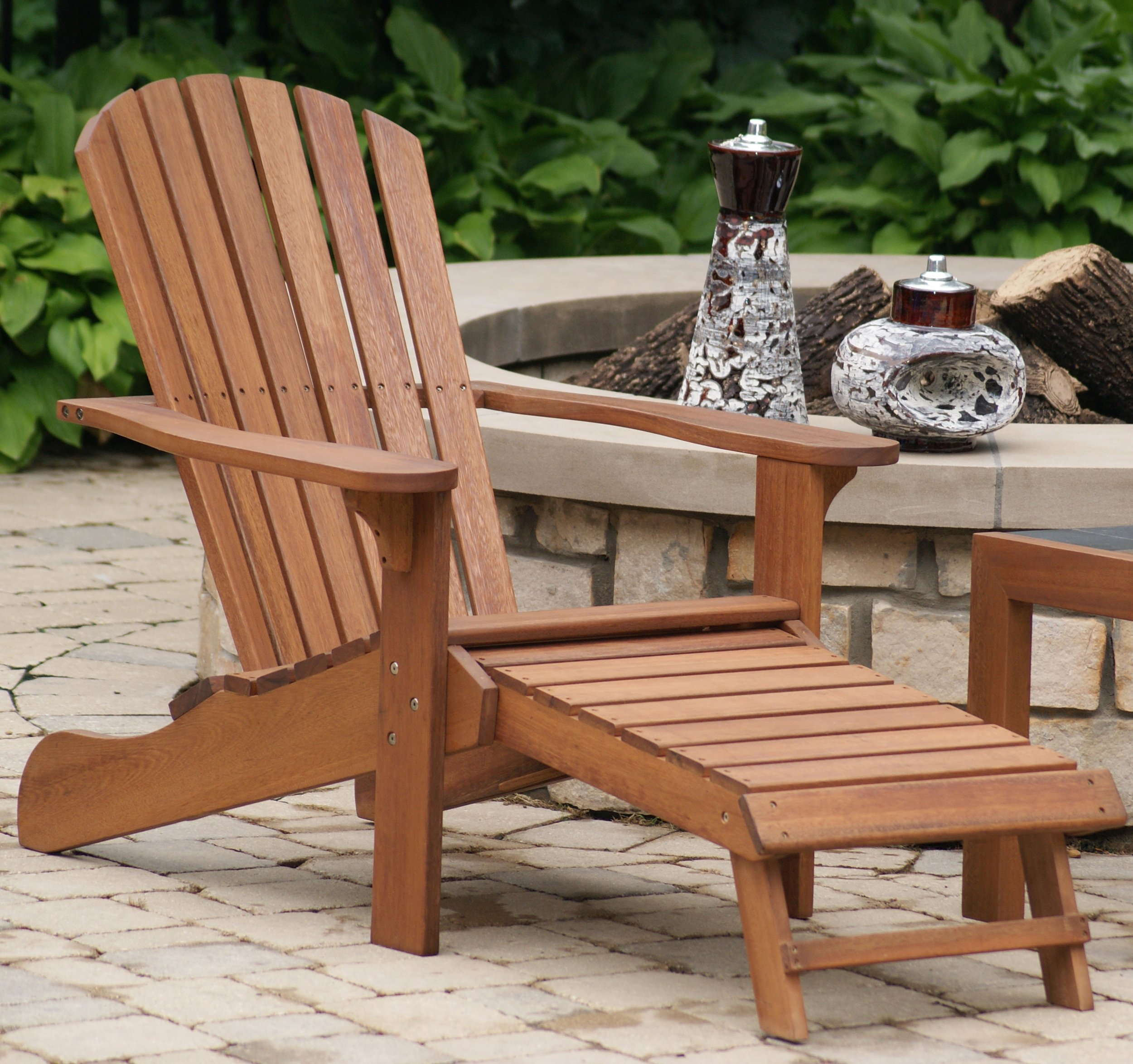 Outdoor Interiors CD3111 Eucalyptus Adirondack Chair and Built In Ottoman by Outdoor Interiors (Image #4)