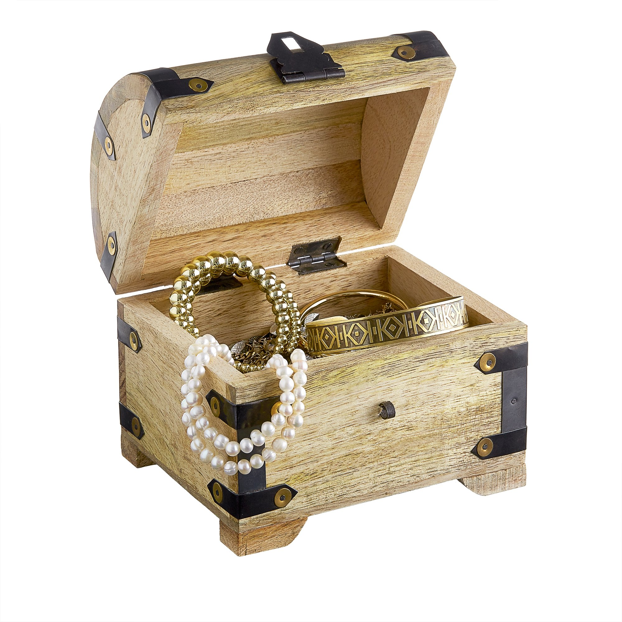 Jewelry Storage Box with Clasp - Treasure Chest - Vintage Chest - Light Wood - Pirate Chest - Original Gift Idea - LARGE - 5.5'' x 4.3'' x 5.2''