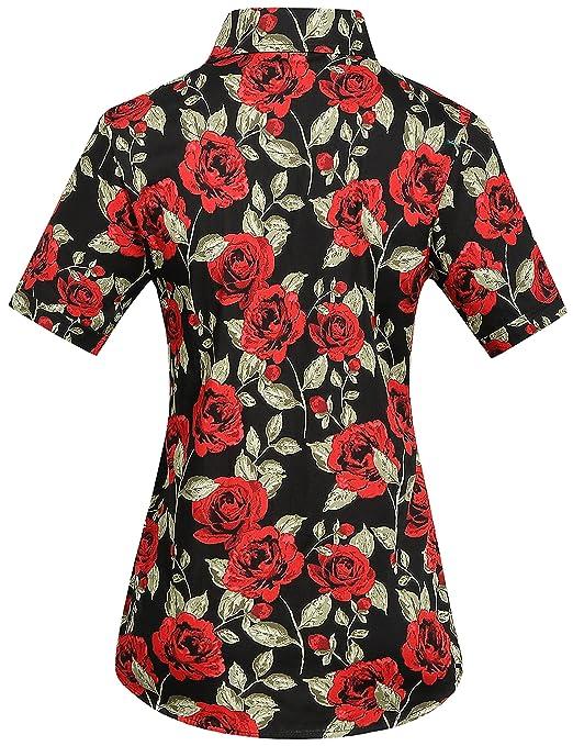 SSLR Camisa Mujer Hawaiana Manga Corta Casual Blusa Estampada Rosas: Amazon.es: Ropa y accesorios
